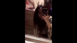 香港性感的校花女神和男友酒店浴室镜子前站着后入中出小骚货边被擀边录像